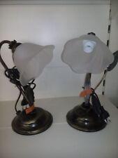 ABAT-JOUR LAMPADE FERRO BATTUTO BASE NERO DORATA VETRO A FORMA DI FIORE E14