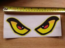 Evil Eyes sticker/decal - LARGE - YELLOW 200mm x 75mm - car motorcycle helmet
