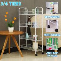 4 Tier Rolling Slim Cart Rack Organizer Holder Kitchen Laundry Storage Shelf