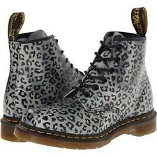 Dr Martens 101 Doc Gray Black Leopard 6-Eye Leather Boots SZ 6 US 4 UK  AirWair