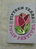 Tulip Festival Pin Brooch Enamel Metal Silver Tone 15 Years Flower