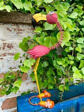 Small Flamingo Garden Ornament Pink Bird Patio Sculpture Indoor Outdoor Decor