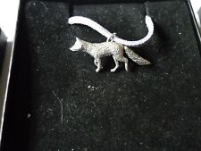 """Fox codea23 Made From Fine English Pewter On a 18"""" Purple Cord Necklace"""