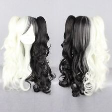 70cm Long Black/White Mixed Curly Clip-In Ponytails Lolita Style Cosplay Wigs