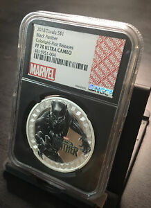 2018 Marvel Label BLACK PANTHER 1oz Silver Proof Coin Black Core NGC PF70 #0381