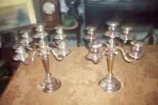 PAIR OF EXTRA LARGE SILVER HEAVY PLATED  CANDELABRA 13 1/2 X 9 GREAT CONDITION