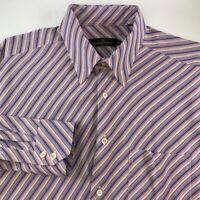 Bugatchi Uomo Mens Button Front Shirt Purple Stripe Pocket Long Sleeve XXL