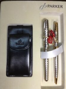 Rare Silver Plated Parker Sonnet Gift Set 2 Type Roller Pens And Leather Wallet