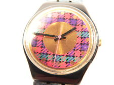 SWATCH  WATCH AG 1991  WITH LEATHER STUDDED STRAP