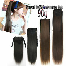 90g One Hairpieces Ribbon Ponytail Virgin Remy Clip In Real Human Hair Extension