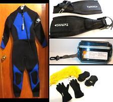 Scuba Diving/Snorkeling Sea Elite Wetsuit/Gloves/Fins/Boots sz 6/Bag/Camera Box