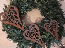 Edelrost Herz  3er Set Madera Ornament Aufhänger Christbaumschmuck Dekoration
