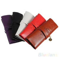 FM- Vintage Retro Roll Leather Make up Cosmetic Pencil Case Pouch Purse Bag Box