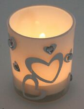2 Tealight Holders ~ ~ shine shiny glow white frosted glass gift present wedding