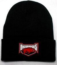 745c7ab37d3 Arkansas Razorbacks HEAT APPLIED Flat Logo on Beanie Knit Cap hat