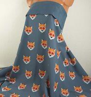 0,5 m Softshell Fleece *Fuchs*, 17,90 €/m, blaugrau, fox, Waldtiere