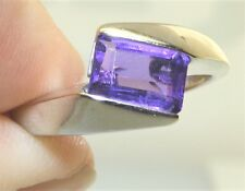 9CT AMETHYST BAGUETTE RING 9 CARAT WHITE GOLD SINGLE STONE TWIST RING SIZE L1/2