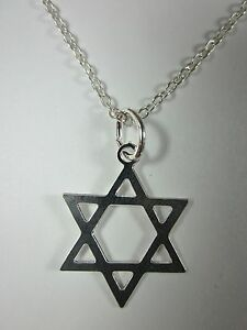 """Silver Plated Magen David Star of David Pendant Necklace 20"""" Chain"""