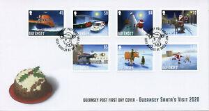 Guernsey Christmas Stamps 2020 FDC Santa's Visit Santa Claus Reindeer 7v S/A Set