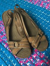 CLARKS Privo Brown Leather Slingback Open Toe Wedge Sandal Womens Sz 10
