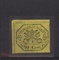 STATO PONTIFICIO 1867  40 CENT. SASSONE NR.19 VALUTAZIONE €.375,00  NUOVO  (599