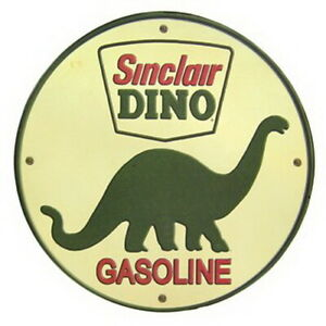 Sinclair Oil Dino Gasoline Embossed Metal Sign Classic Station Cars
