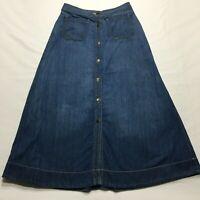"""Chaps Denim Skirt Size 4 (30"""") Long Modest Aline Button Front Lightweight Jean"""