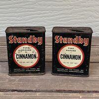 Lot (2) Vtg Standby Ground Cinnamon 1.5 Oz Spice Tins Seattle Minneapolis F/S