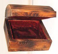 Vintage Handmade Round Top Hinged Slat Wood Velvet Lined Jewelry Trinket Box