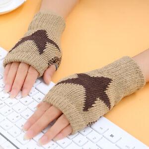 Women Knitted Star Print Winter Fingerless Gloves Wrist Arm Warmer Thick Mittens