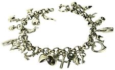 9Carat 9ct white gold charm bracelet with 24 charms hollow belcher 9ct hallmark