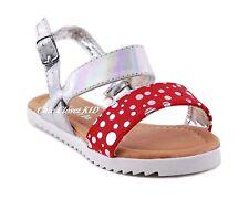 Girls JR Youth Sparkling Sandals Ankle Strap Low Flat Heel Summer Metallic Shoes