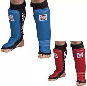 Combat Sports Grappling MMA Shin Guard- Blue/Red R/L/XL Brand New