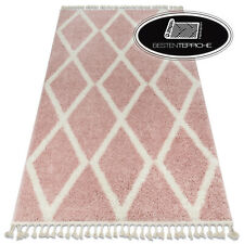 "Modern Thick Comfortable Shaggy Carpet "" Berber "" Troik Pink Ethnic"