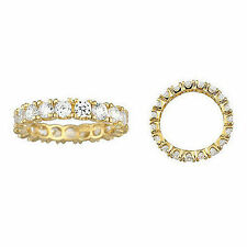 14K 4-Prong Round Yellow Gold Man Made Diamond wedding Eternity Ring Band