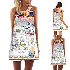 Women Summer Sleeveless O-Neck Mini Dress Printed A-Line Beach Sundress Vintage