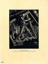 Hermann Kätelhön, Essen Beim Zimmern Bergbau- Holzschnitt Histor.Kunstdruck 1924