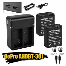 SALE!2XAHDBT-301 201 1250mAh Battery+Charger For GoPro Go Pro HD Hero 3 3+ Black