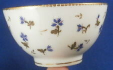 Antique Swiss / French Porcelain Tea Bowl Cup Blue Cornflowers Porzellan Tasse