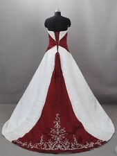 Gothic White&Red Ball Gowns Wedding Dresses Formal Bridal Gowns Custom All Size