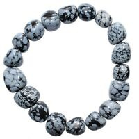 CHARGED Snowflake Obsidian Crystal Bracelet Tumble Polished Stretchy REIKI WOW!
