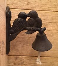 "Cast Iron Two Love Birds Bell 7 1/2"" High By 3""  Home & Garden Decor 0184S-4006"