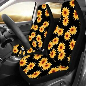Front Seat Covers Car Bucket Sunflower Print Cushions Protector Accessories Set