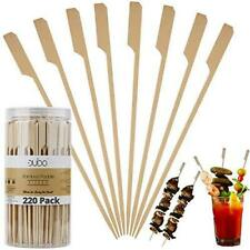 Bamboo Skewers Paddle Wooden Sticks – (Pack of 220) 7 inch Grill Skewers for BBQ