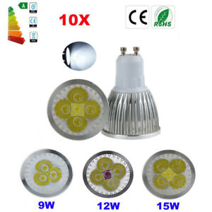 10X GU10 MR16 9W/12W/15W LED Spotlight Bulbs Down Lamp Energy Saving Cool White