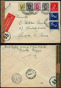 M455 Belgium express censored cover Switzerland Bruxelles Lucerne 1945