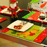 LD_ CHRISTMAS HEAT INSULATION ELK SANTA CLAUS DINING TABLE MAT PLACEMAT DECOR