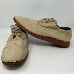 Cole Haan Mens 10 M Grand.OS Wingtip Oxford Shoes Beige Canvas Lace Up C21000