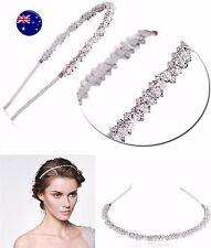 Women Lady Girls White Wedding Bride Crystal beads Bling Hair Headband Hoop Prop
