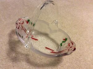 Glass Christmas Candy Dish with Detachable Plastic Handle-NEW without TAGS